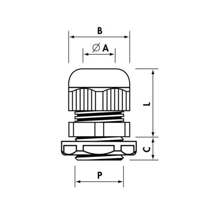 1900.M20 X; Dławnik kablowy MAXIBLOCK M20 X